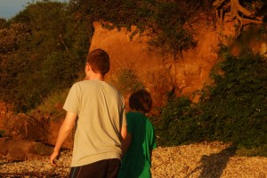 Fossil hunting: 2 boys on beach