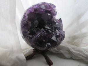 valentines day Amethyst open crystal sphere