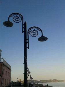 Fossil hunting Lyme Regis Lamp Post