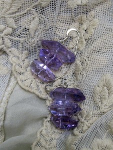 wearing crystals Amethyst Triple Drop Earrings with Lace