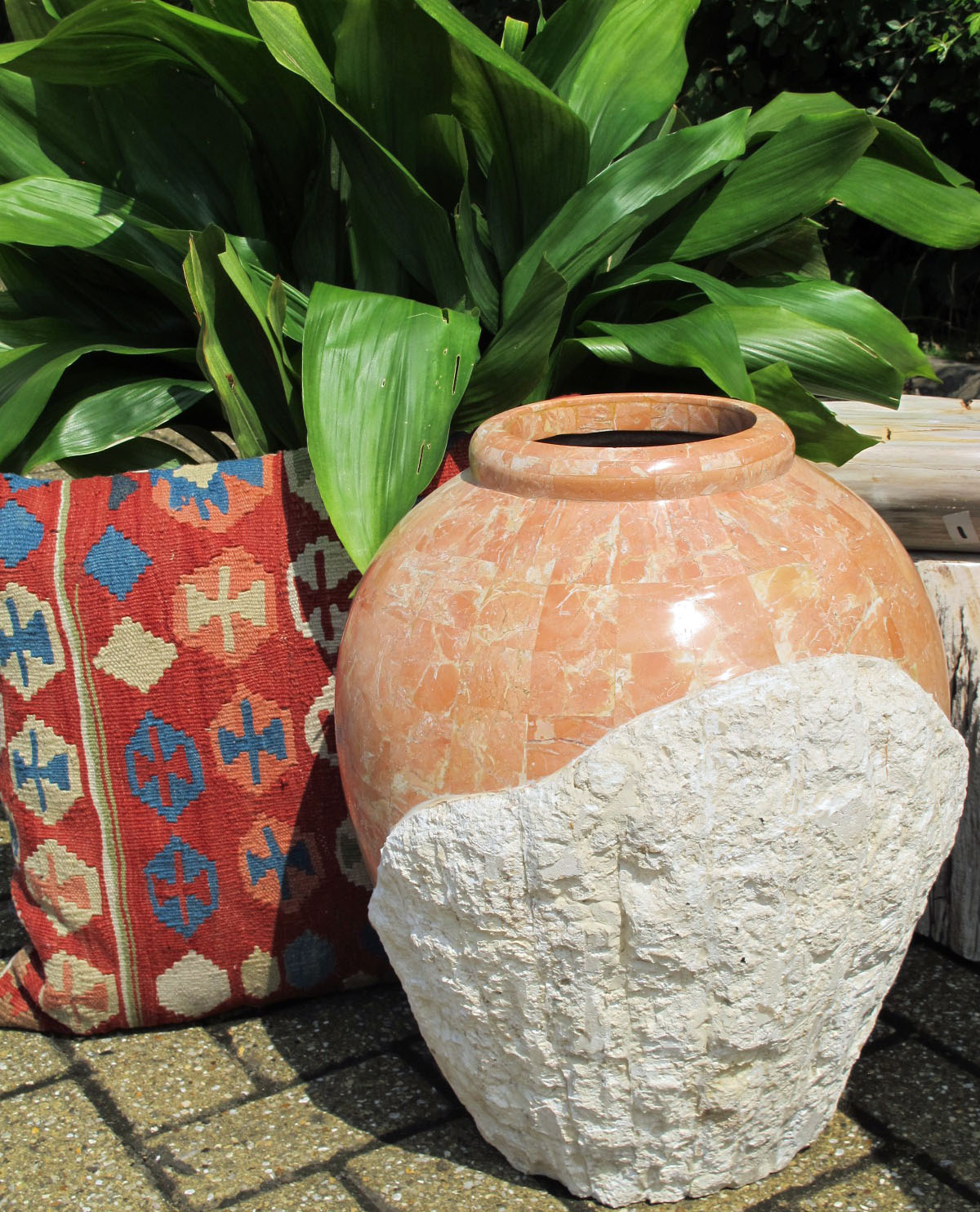 Celebrities Houses Fossilised Coral Jar with Moroccan Rug