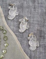 quartz sea horses x 3