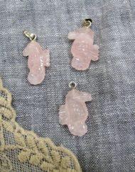 rose quartz sea horses x 3