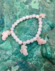 Charm Bracelet,Rose Quartz, Sea Horses