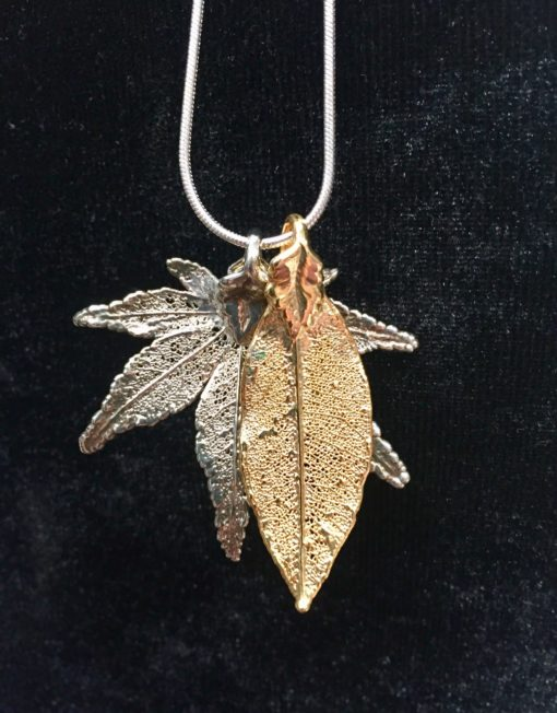 Leaf Pendant Silver and Gold